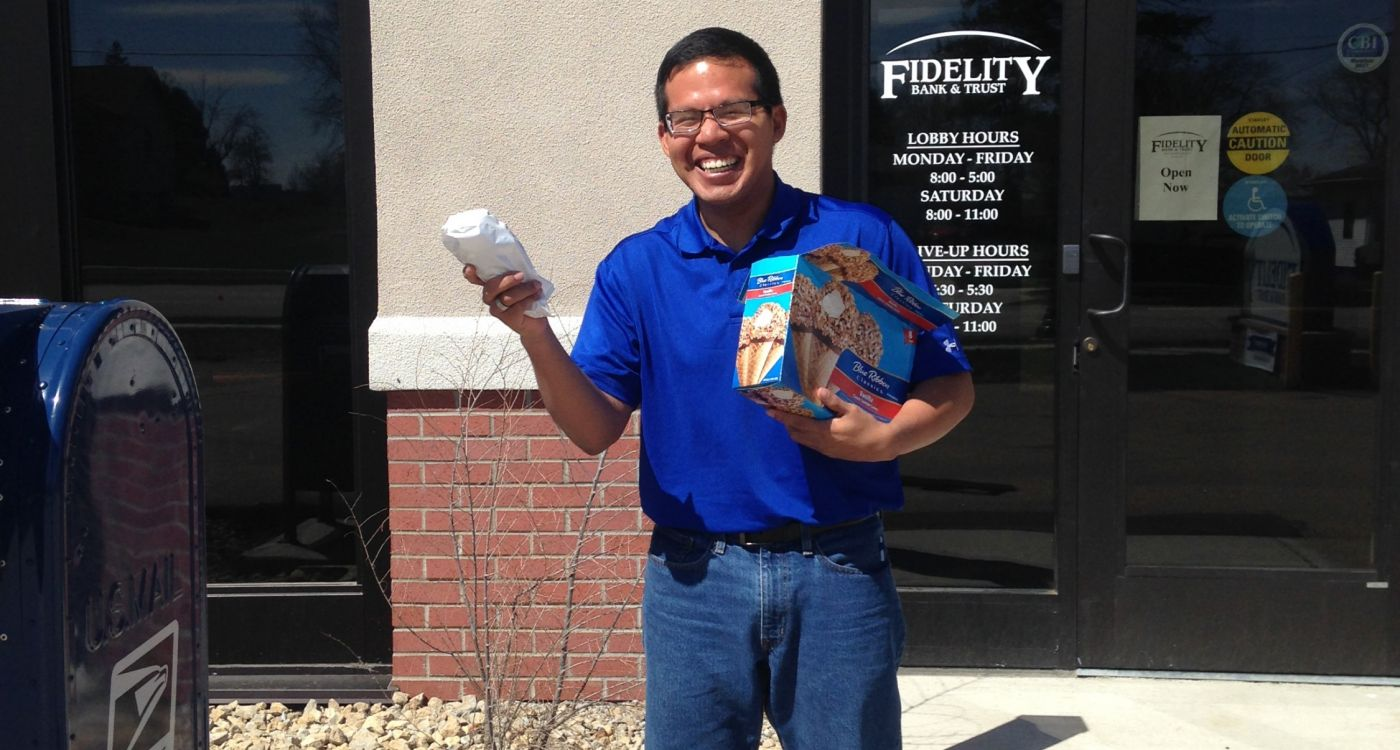Asbury ice cream day with Fidelity Bank & Trust team