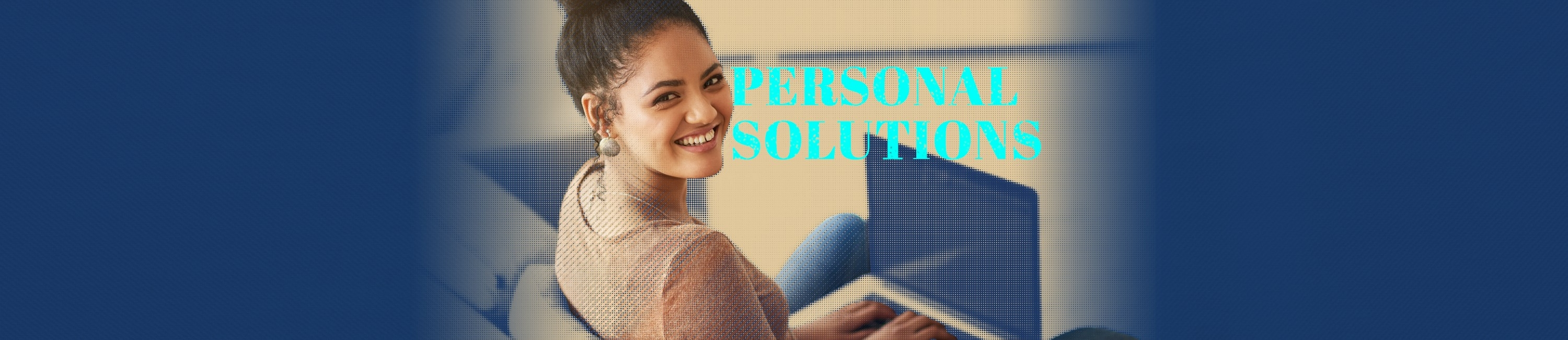 young girl smiling while using her laptop to look at her Fidelity Bank & Trust accounts. the words Personal Solutions are on the photo.