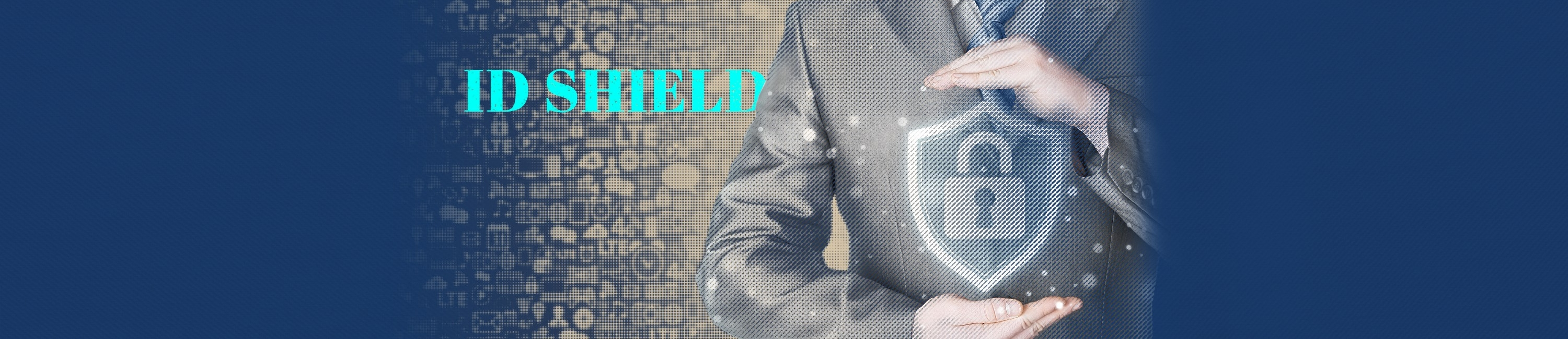 man in a suit placing his hands around an icon pad lock. the words on the image say ID Shield